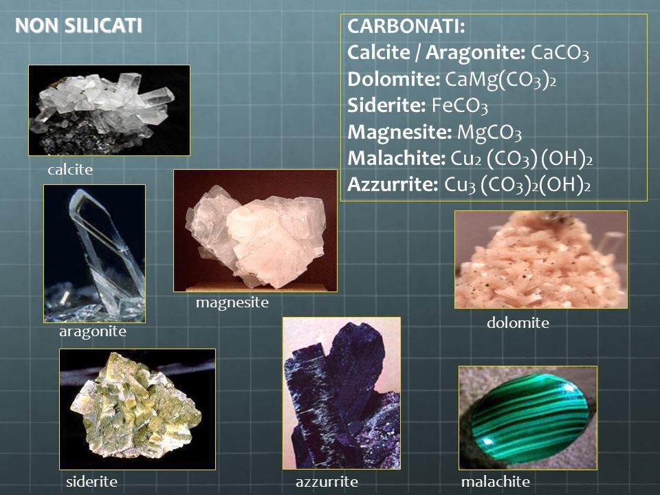Calcite / Aragonite: CaCO3 Dolomite: CaMg(CO3)2 Siderite: FeCO3