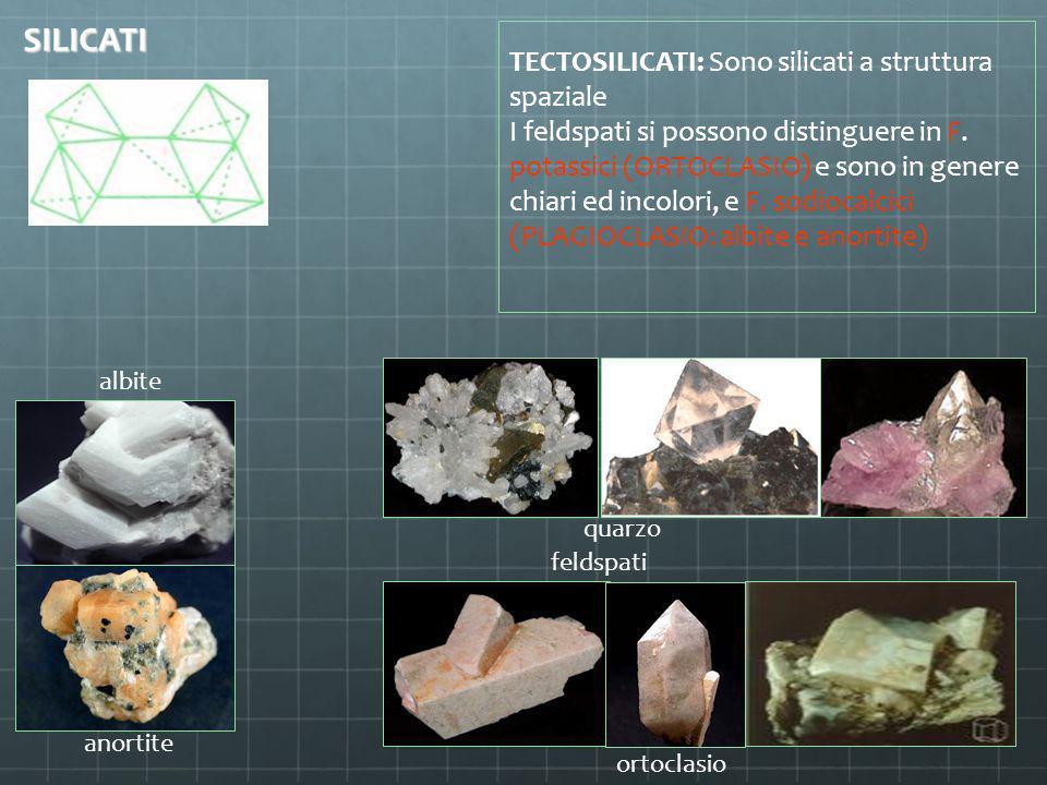 SILICATI TECTOSILICATI: Sono silicati a struttura spaziale
