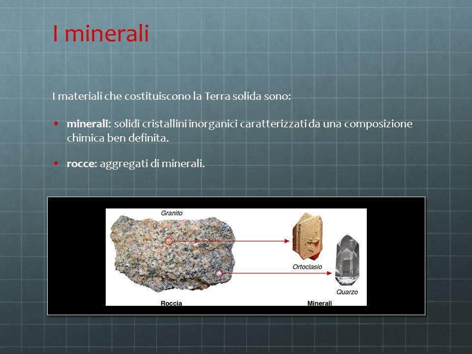 I minerali I materiali che costituiscono la Terra solida sono: