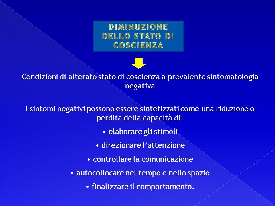 DIMINUZIONE DELLO STATO DI COSCIENZA