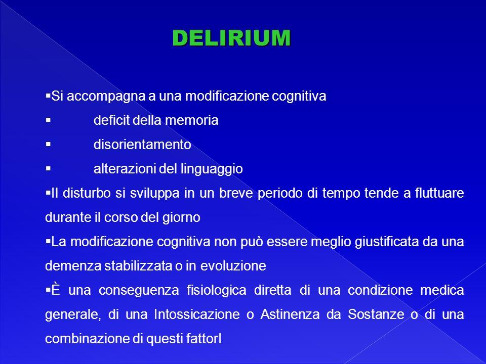 DELIRIUM Si accompagna a una modificazione cognitiva