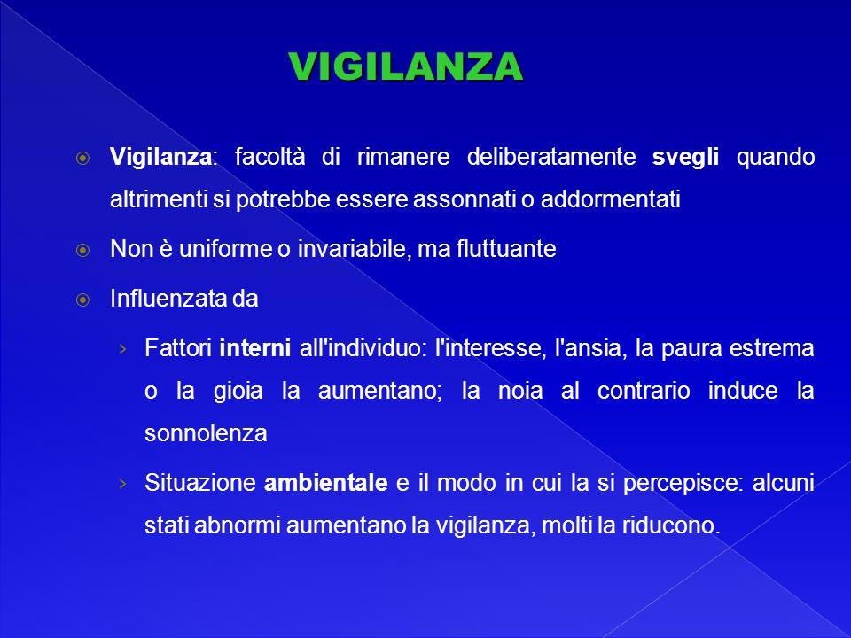 VIGILANZA Vigilanza: facoltà di rimanere deliberatamente svegli quando altrimenti si potrebbe essere assonnati o addormentati.