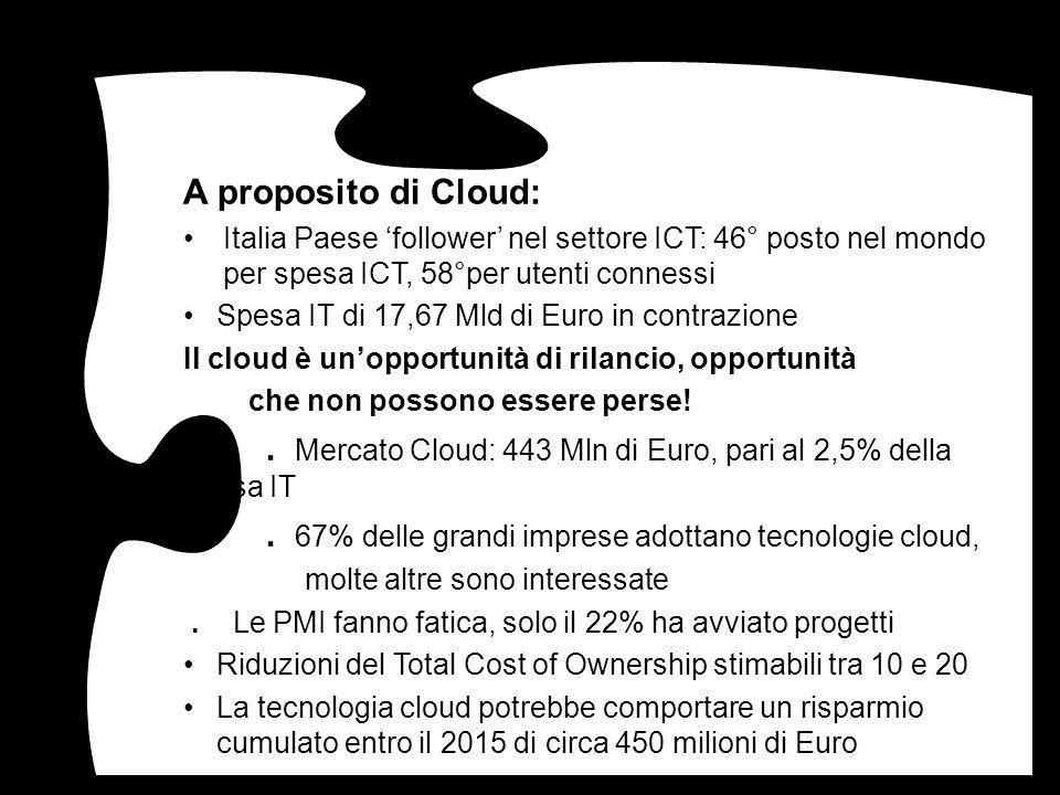 A proposito di Cloud: Italia Paese 'follower' nel settore ICT: 46° posto nel mondo per spesa ICT, 58°per utenti connessi.