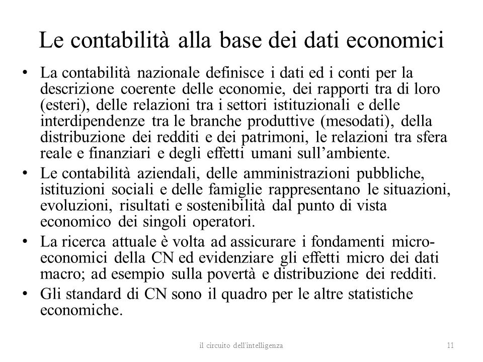 Le contabilità alla base dei dati economici