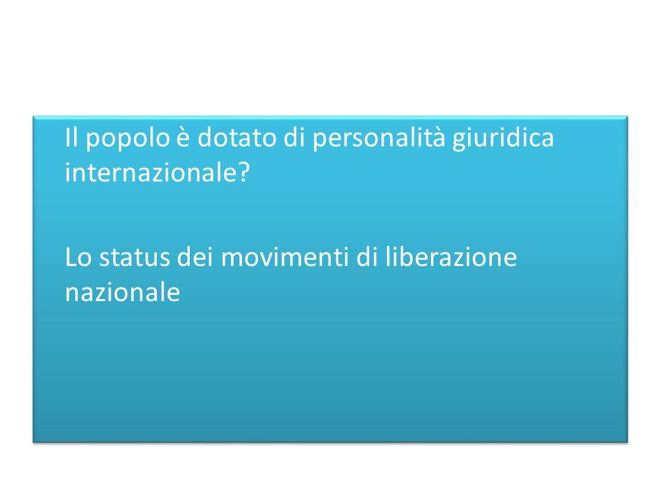 Il popolo è dotato di personalità giuridica internazionale