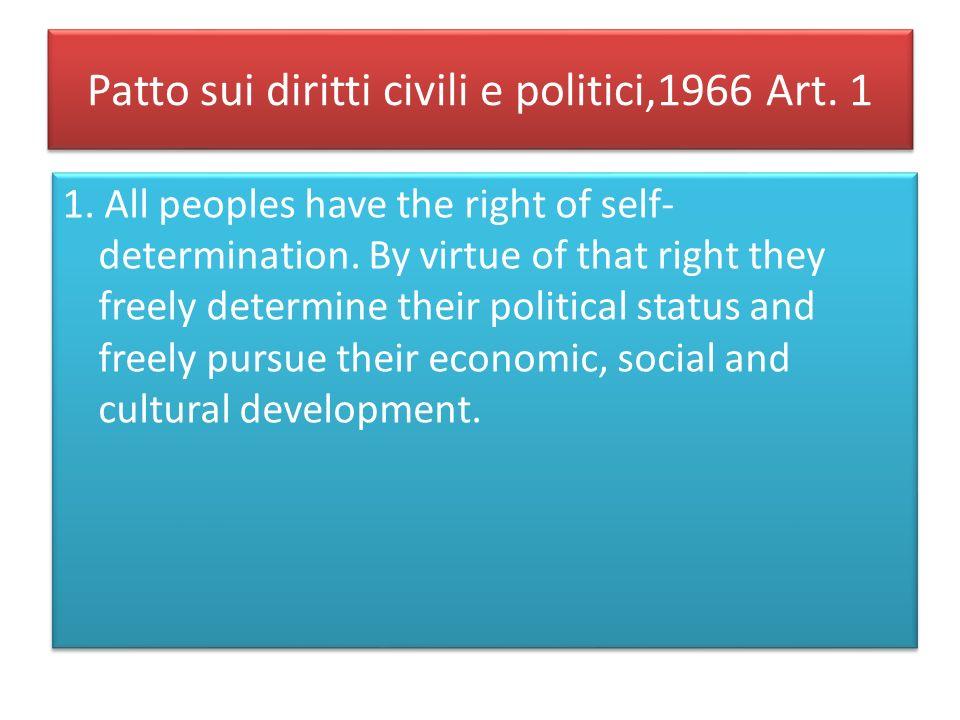Patto sui diritti civili e politici,1966 Art. 1