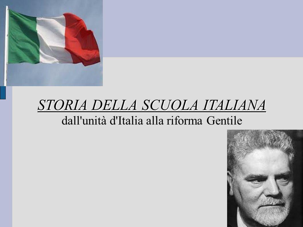 STORIA DELLA SCUOLA ITALIANA dall unità d Italia alla riforma Gentile