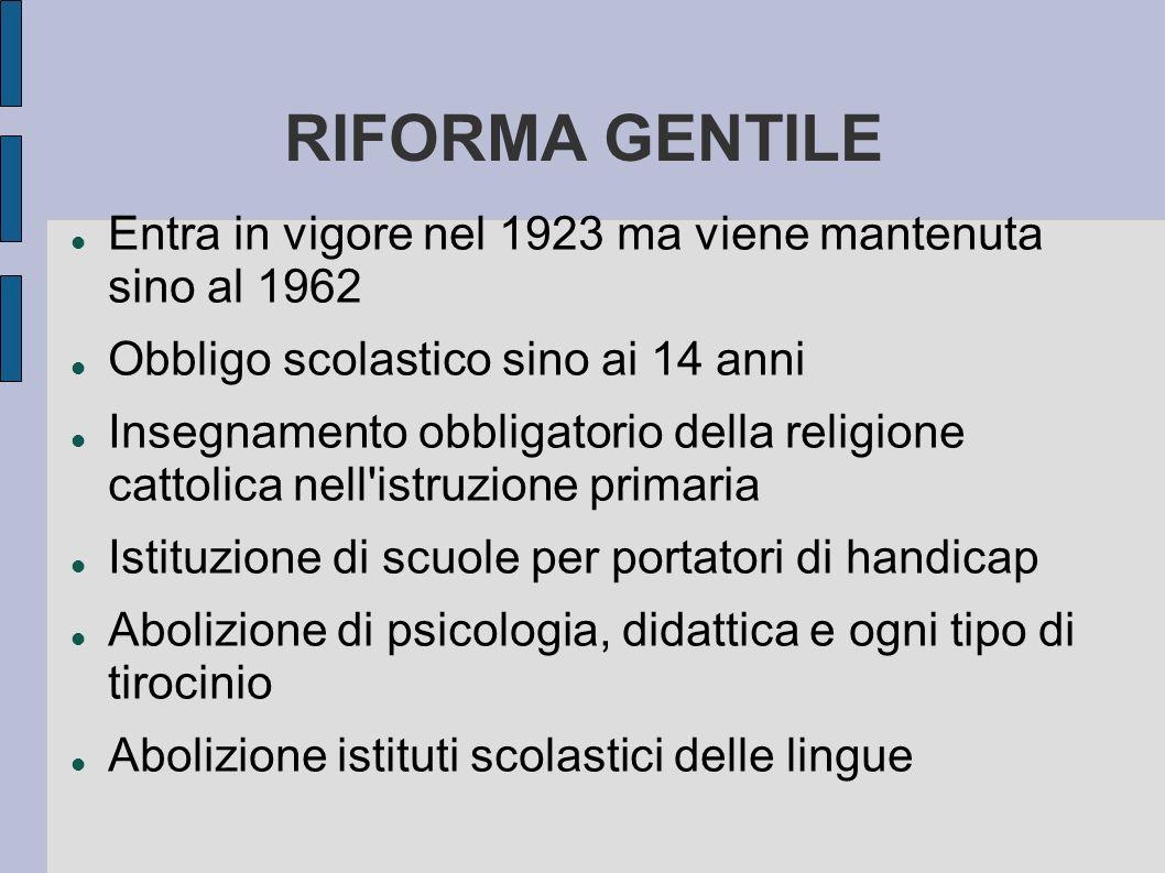 RIFORMA GENTILE Entra in vigore nel 1923 ma viene mantenuta sino al 1962. Obbligo scolastico sino ai 14 anni.
