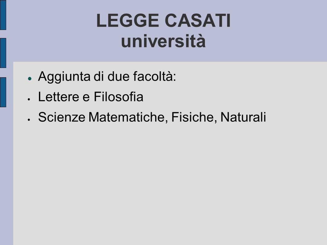 LEGGE CASATI università