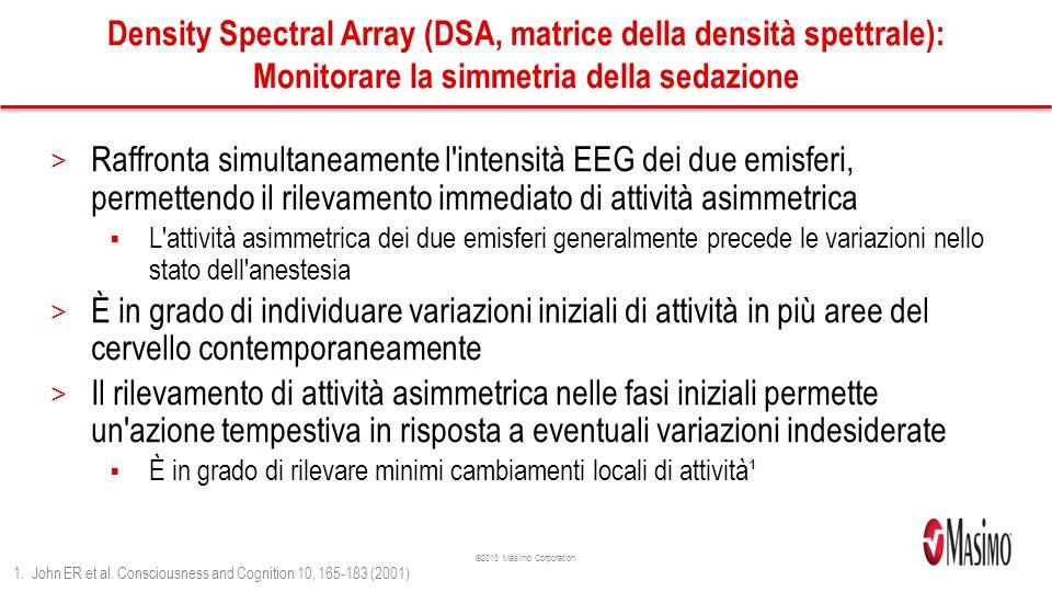 Density Spectral Array (DSA, matrice della densità spettrale): Monitorare la simmetria della sedazione