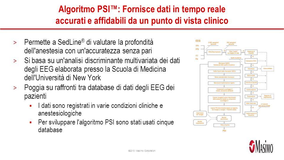 Algoritmo PSI™: Fornisce dati in tempo reale accurati e affidabili da un punto di vista clinico