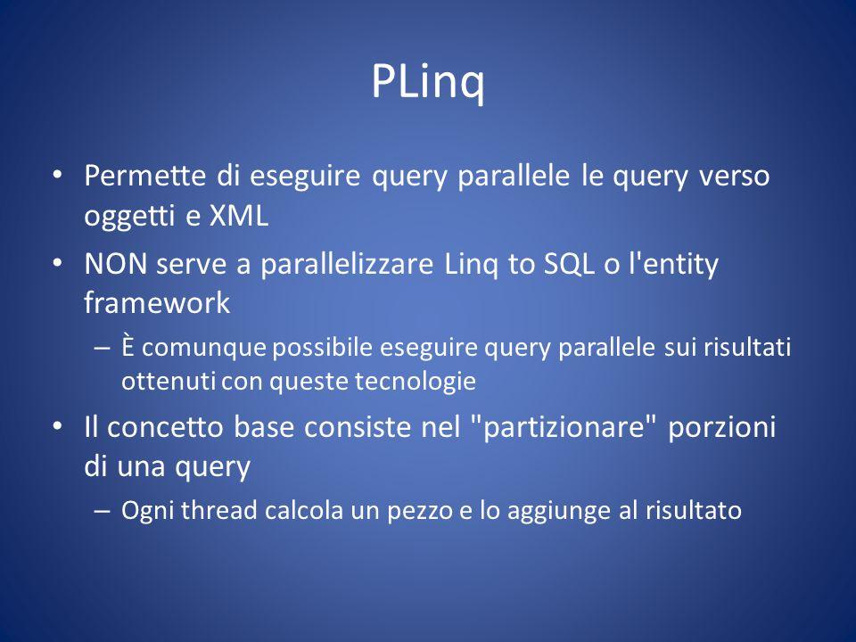 PLinq Permette di eseguire query parallele le query verso oggetti e XML. NON serve a parallelizzare Linq to SQL o l entity framework.