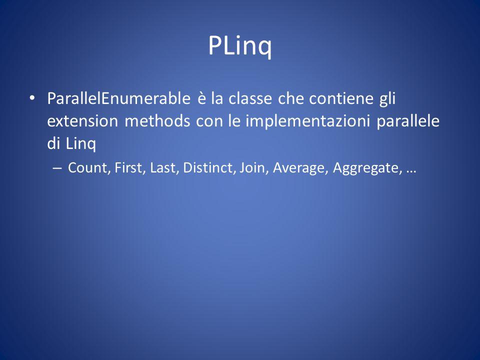 PLinq ParallelEnumerable è la classe che contiene gli extension methods con le implementazioni parallele di Linq.