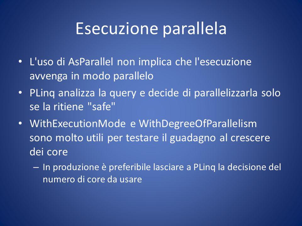 Esecuzione parallela L uso di AsParallel non implica che l esecuzione avvenga in modo parallelo.