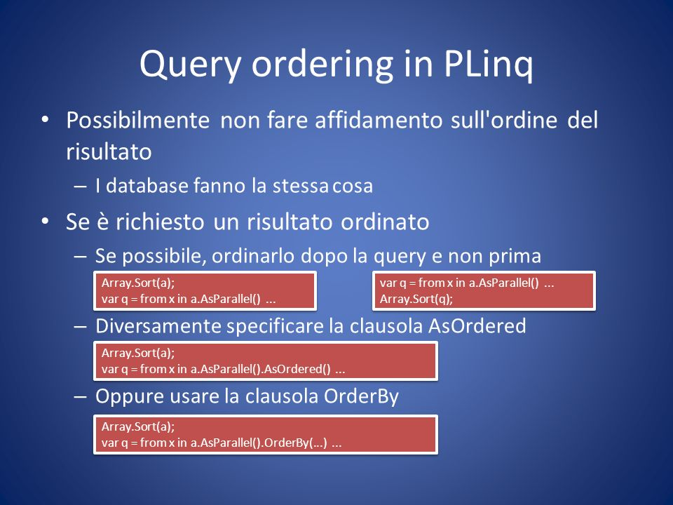 Query ordering in PLinq