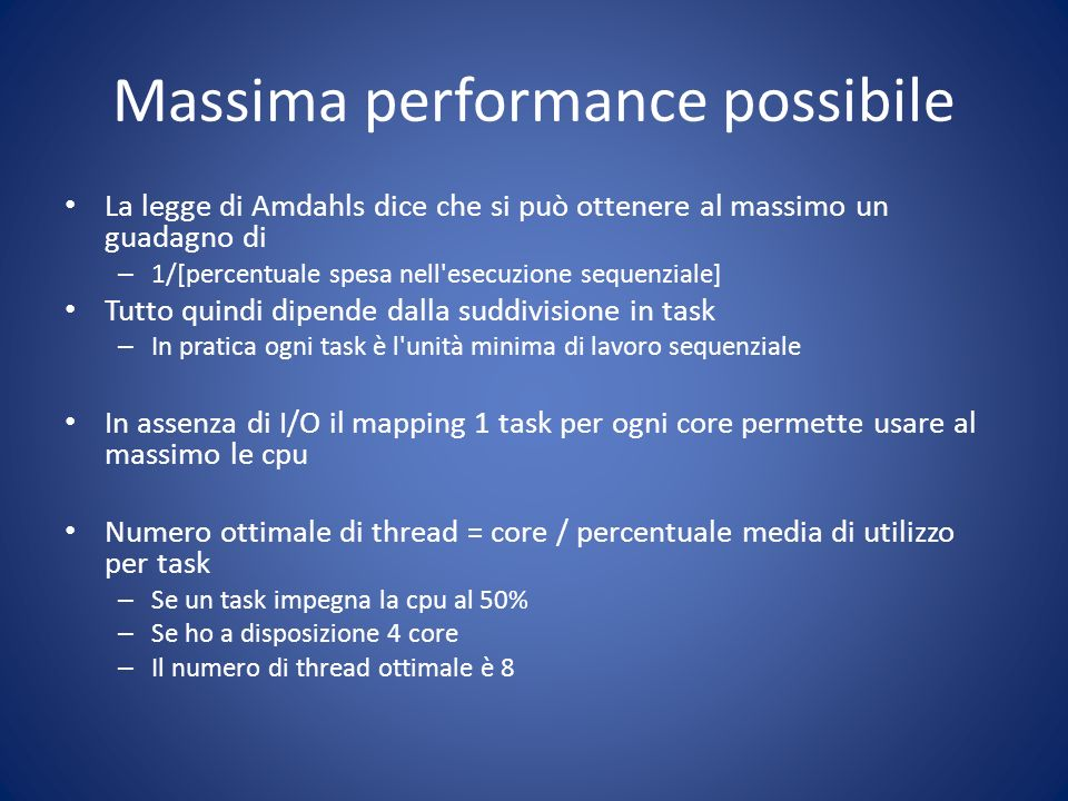 Massima performance possibile