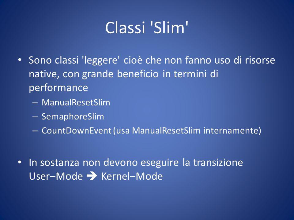 Classi Slim Sono classi leggere cioè che non fanno uso di risorse native, con grande beneficio in termini di performance.