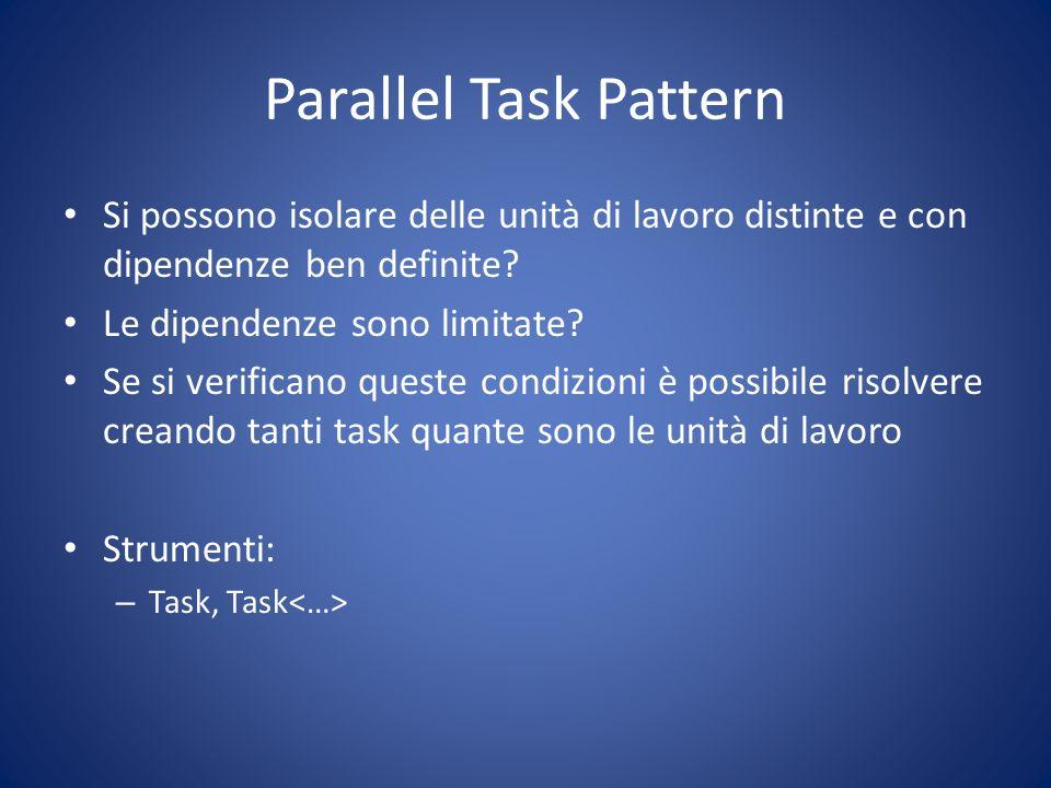 Parallel Task Pattern Si possono isolare delle unità di lavoro distinte e con dipendenze ben definite