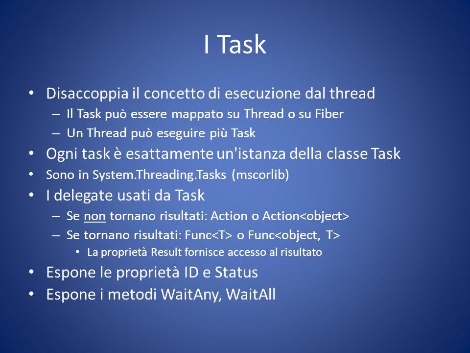 I Task Disaccoppia il concetto di esecuzione dal thread