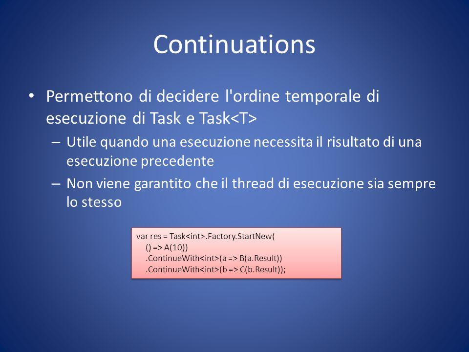 Continuations Permettono di decidere l ordine temporale di esecuzione di Task e Task<T>