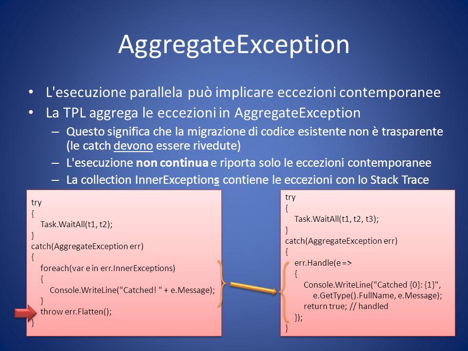 AggregateException L esecuzione parallela può implicare eccezioni contemporanee. La TPL aggrega le eccezioni in AggregateException.