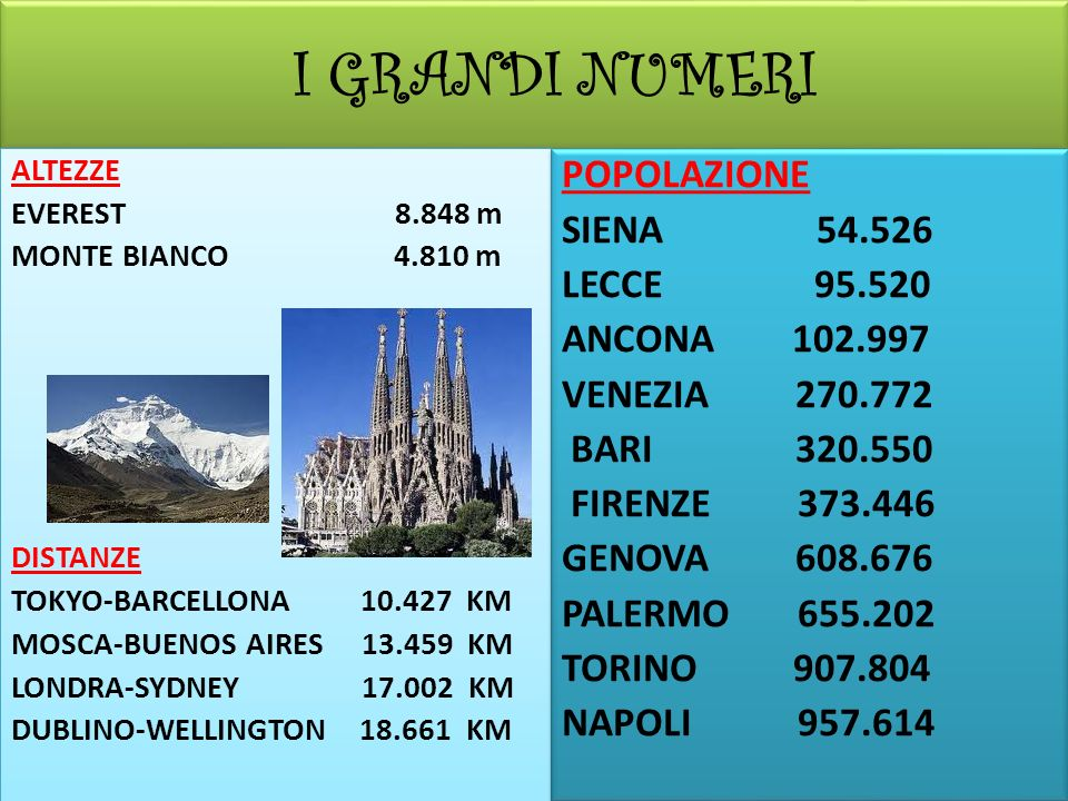 I GRANDI NUMERI POPOLAZIONE SIENA 54.526 LECCE 95.520 ANCONA 102.997