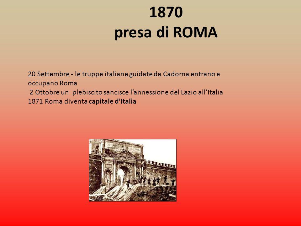 1870 presa di ROMA. 20 Settembre - le truppe italiane guidate da Cadorna entrano e occupano Roma.