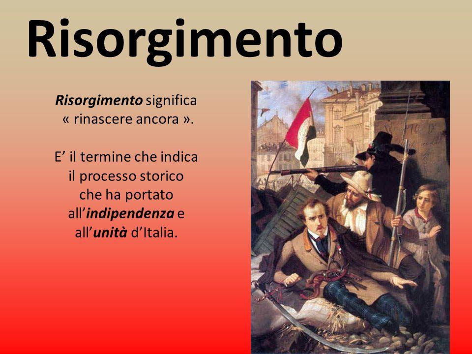 Risorgimento Risorgimento significa « rinascere ancora ».