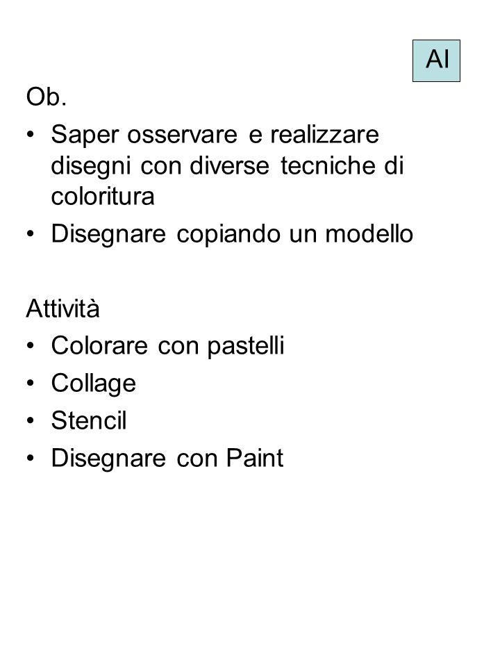 AI Ob. Saper osservare e realizzare disegni con diverse tecniche di coloritura. Disegnare copiando un modello.