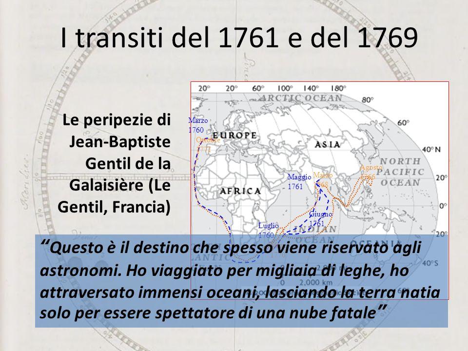 I transiti del 1761 e del 1769 Le peripezie di Jean-Baptiste Gentil de la Galaisière (Le Gentil, Francia)