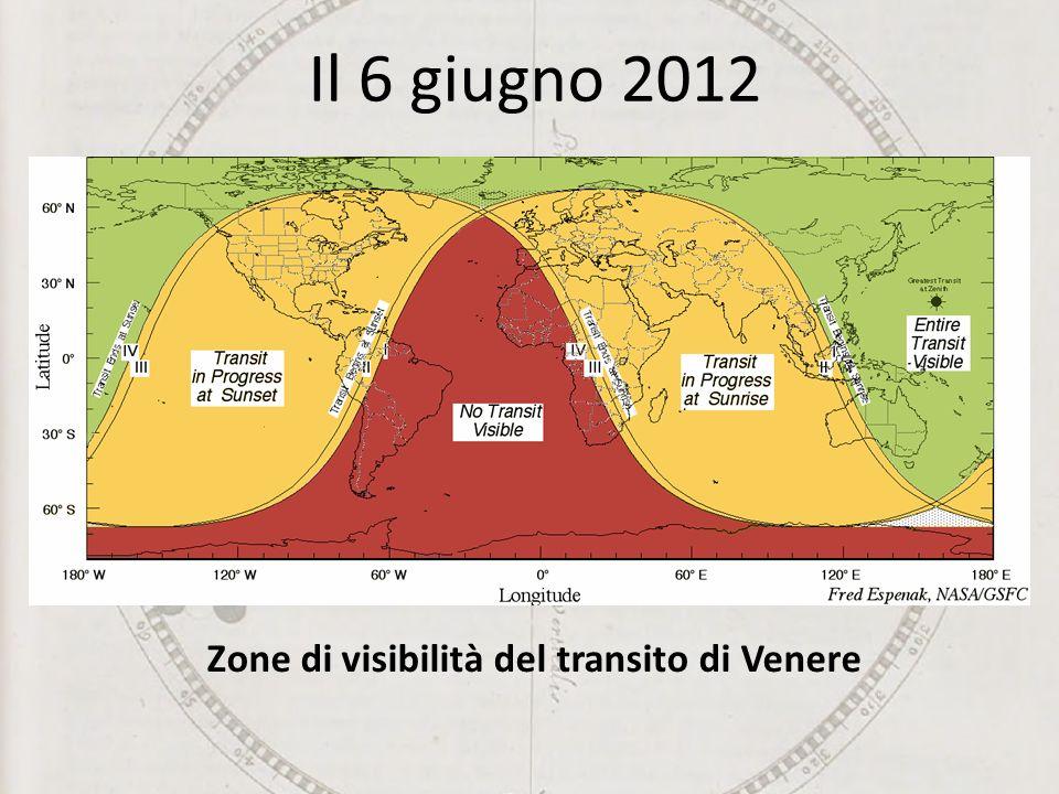 Zone di visibilità del transito di Venere