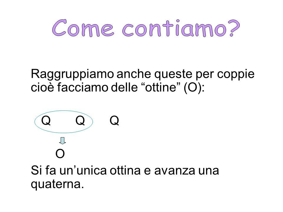 Come contiamo Raggruppiamo anche queste per coppie cioè facciamo delle ottine (O): Q Q Q.