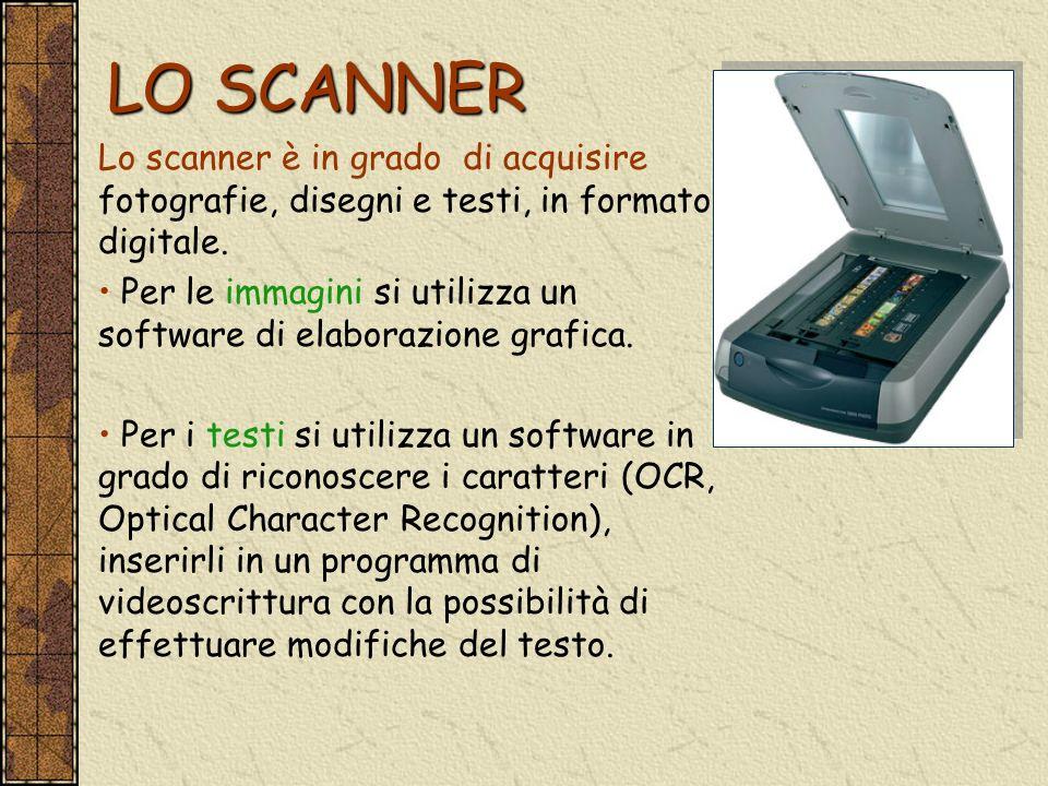 LO SCANNER Lo scanner è in grado di acquisire fotografie, disegni e testi, in formato digitale.