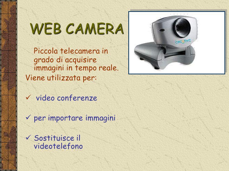 WEB CAMERA Piccola telecamera in grado di acquisire immagini in tempo reale. Viene utilizzata per: