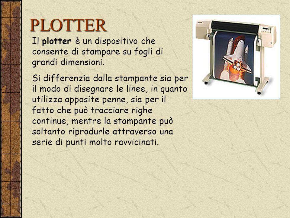 PLOTTER Il plotter è un dispositivo che consente di stampare su fogli di grandi dimensioni.