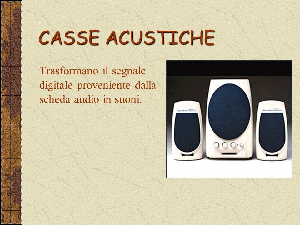 CASSE ACUSTICHE Trasformano il segnale digitale proveniente dalla scheda audio in suoni.