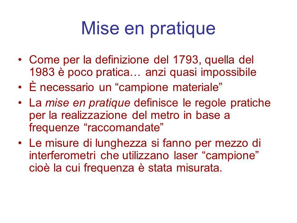 Mise en pratique Come per la definizione del 1793, quella del 1983 è poco pratica… anzi quasi impossibile.