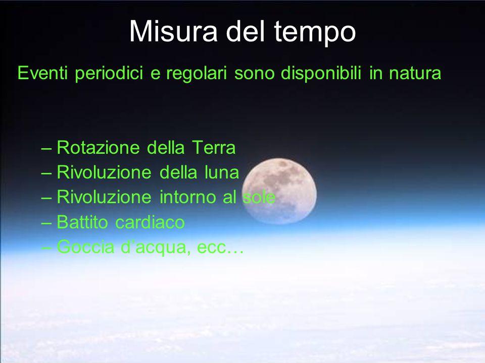 Misura del tempo Eventi periodici e regolari sono disponibili in natura. Rotazione della Terra. Rivoluzione della luna.