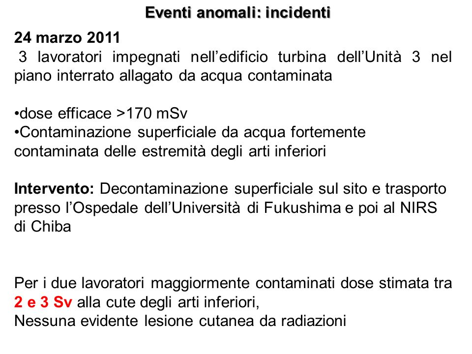 Eventi anomali: incidenti
