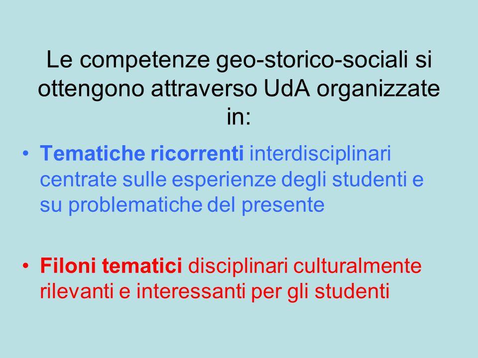 Le competenze geo-storico-sociali si ottengono attraverso UdA organizzate in: