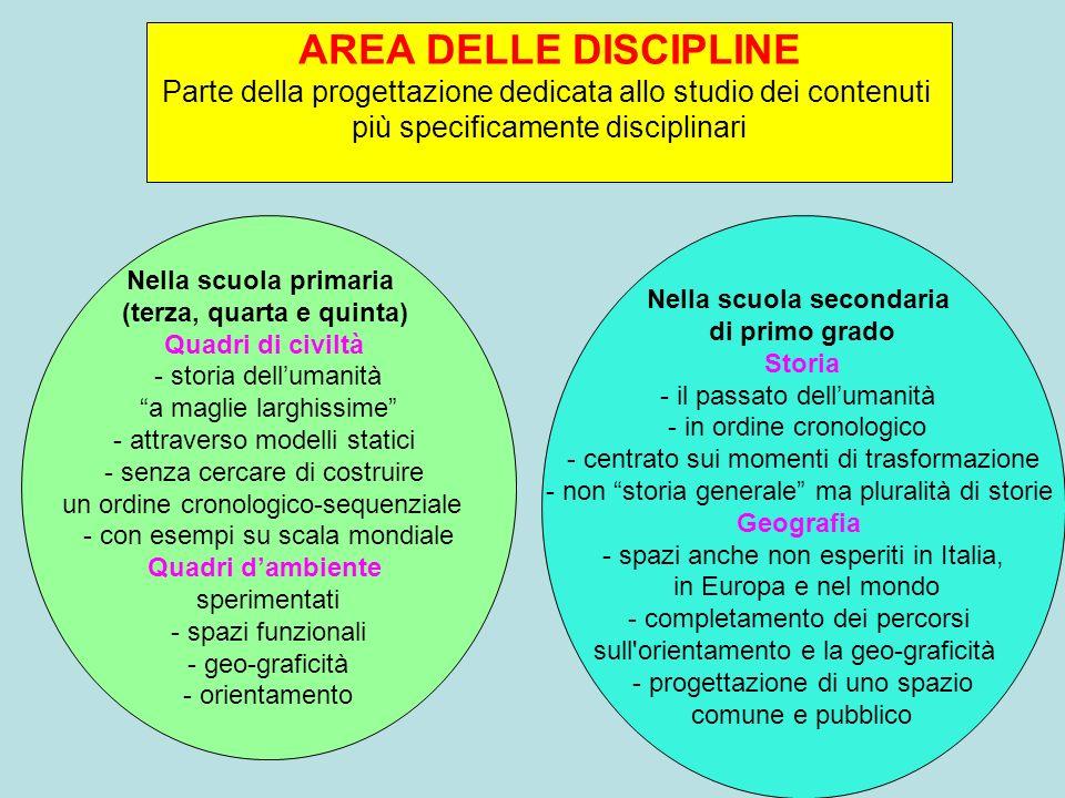 AREA DELLE DISCIPLINE Parte della progettazione dedicata allo studio dei contenuti. più specificamente disciplinari.