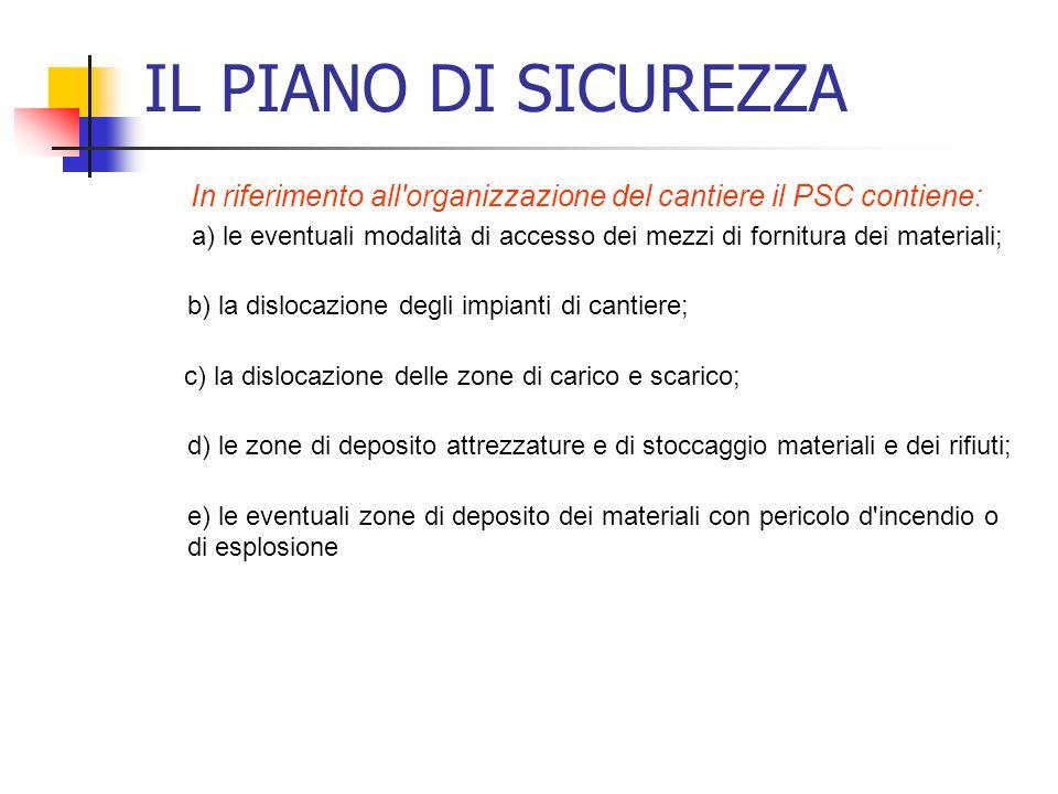 In riferimento all organizzazione del cantiere il PSC contiene: