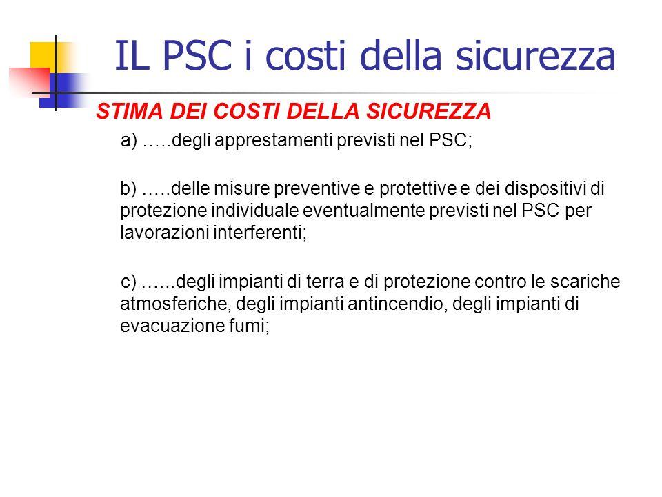 IL PSC i costi della sicurezza