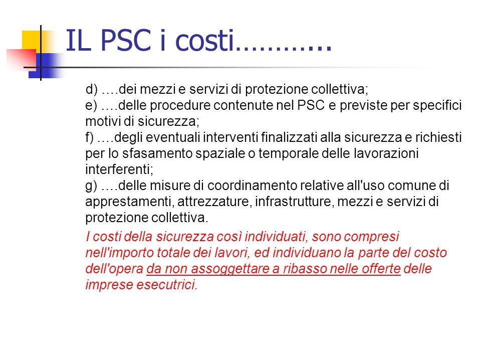 IL PSC i costi………...