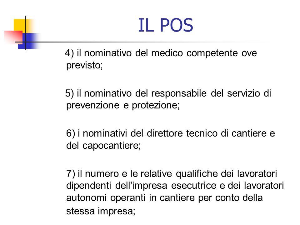 IL POS 4) il nominativo del medico competente ove previsto;