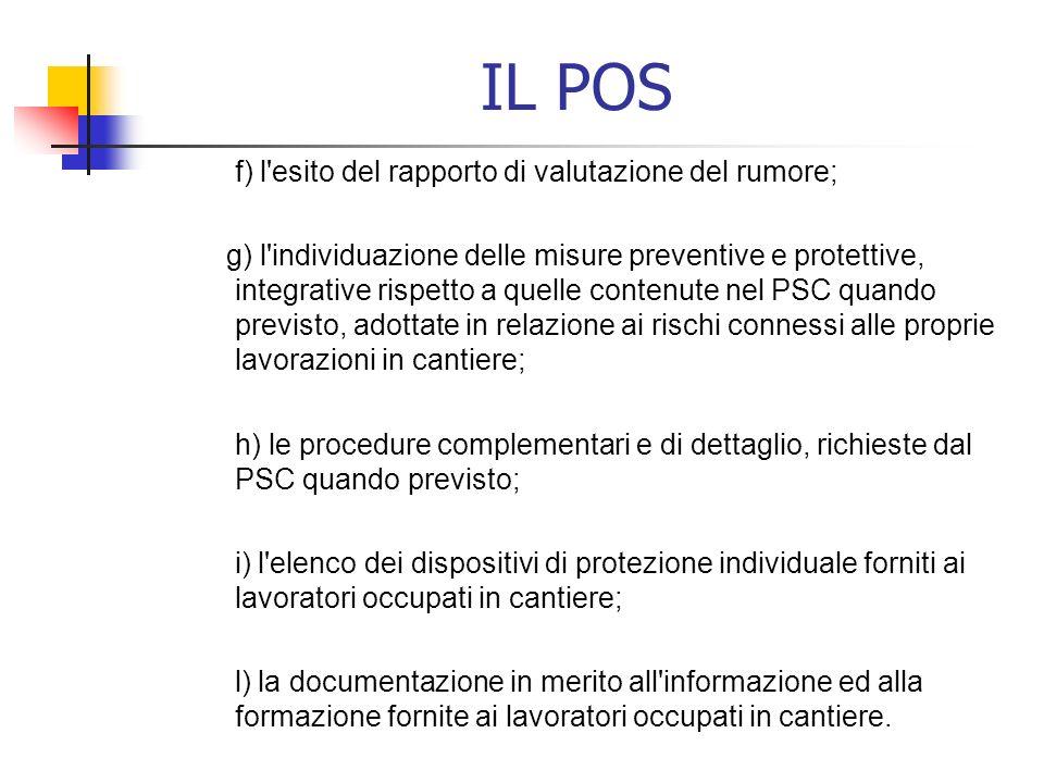 IL POS f) l esito del rapporto di valutazione del rumore;