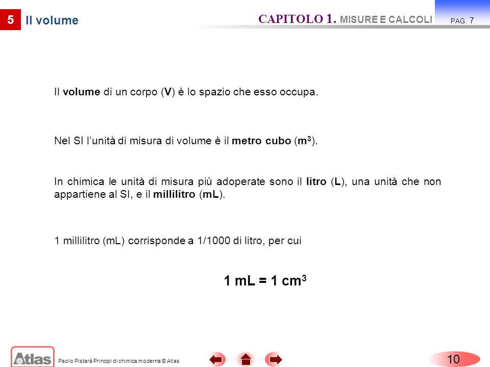 1 mL = 1 cm3 CAPITOLO 1. MISURE E CALCOLI 5 Il volume 10