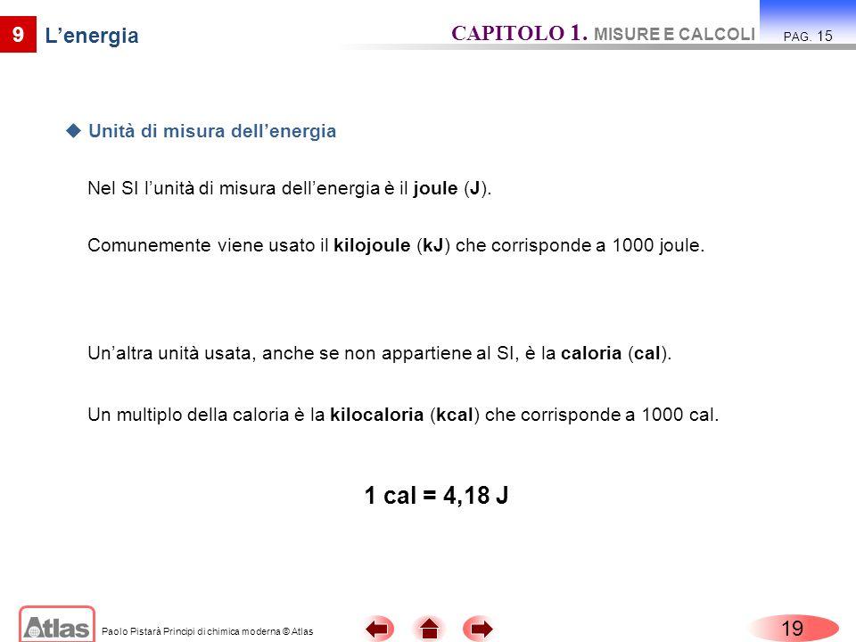 1 cal = 4,18 J CAPITOLO 1. MISURE E CALCOLI 9 L'energia 19