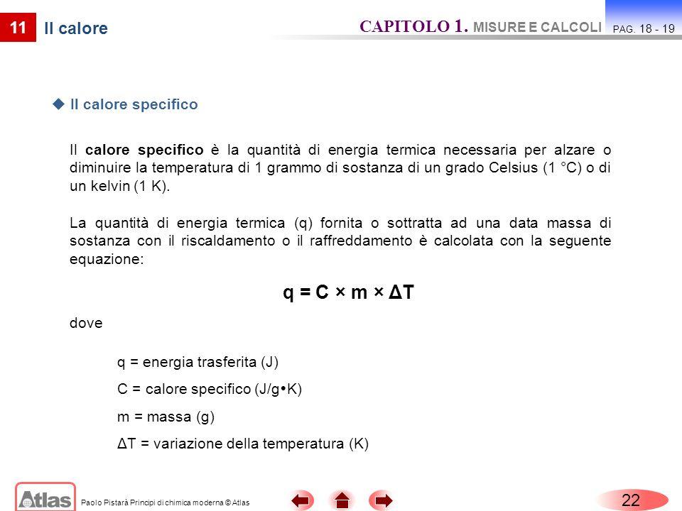 q = C × m × ΔT CAPITOLO 1. MISURE E CALCOLI 11 Il calore 22