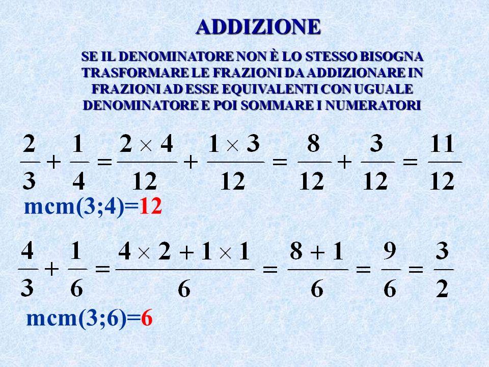 mcm(3;4)=12 mcm(3;6)=6 ADDIZIONE